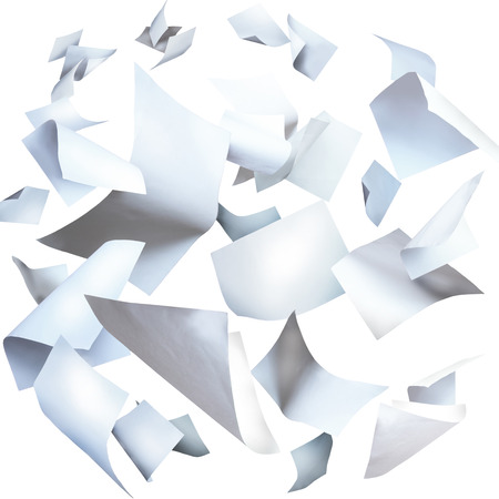 sheet of paper: Flying papers, flying paper sheets isolated on white Stock Photo