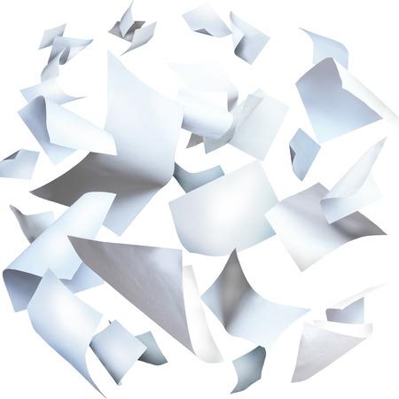 plech: Létající papíry, létání listy papíru na bílém Reklamní fotografie
