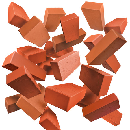 freefall: Red clay bricks flying, falling, scattered