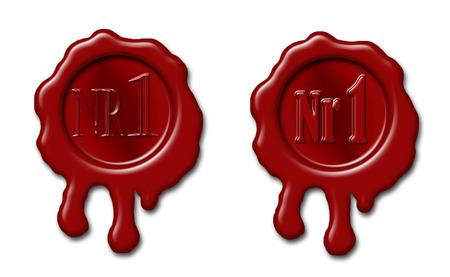"""SELLOS: Conjunto de sellado sellos de cera con la marca """"N ° 1"""" en relieve"""