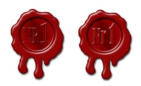 sealing wax: Set of sealing wax stamps with mark Nr 1 embossed Stock Photo