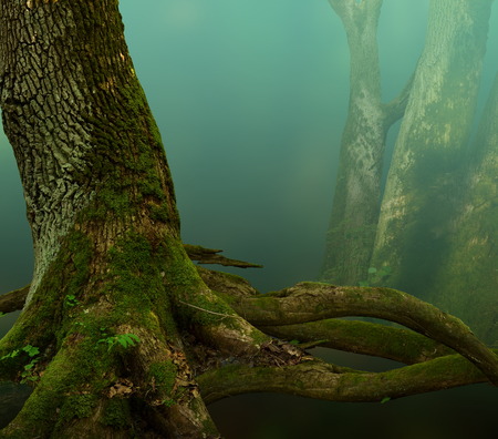 Fantasy background. Old mossy tree with roots in blue haze