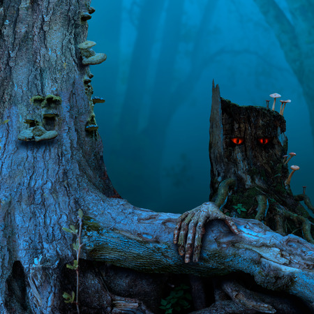 Blue twilight, stump red eyes. Mysterious fairytale landscape with old tree, stalking stump, thick root. 写真素材
