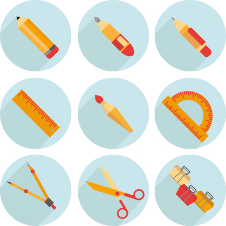 writing tools: Drawing and Writing tools icon set, flat design, icon, vector Vectores