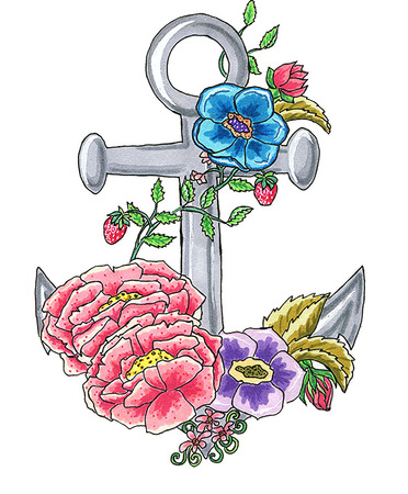 to bloom: Anchor bloom vector Illustration