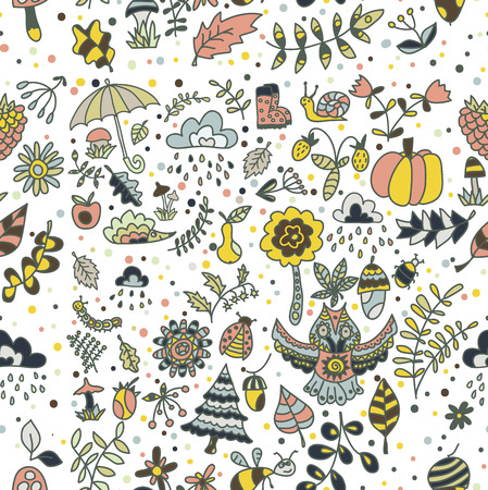 blockhead: Vector autumn forest design, floral seamless pattern with forest animals: owl, hedgehog. Vector background with bugs, bees, trees and flowers in childish style.