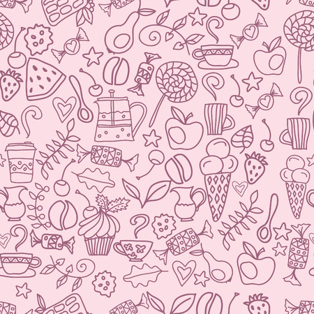cake background: Tea and coffee seamless pattern. Tea, coffee and sweets doodle template pattern invitation. Breakfast line background with cups, teapot, cake and sweets Illustration