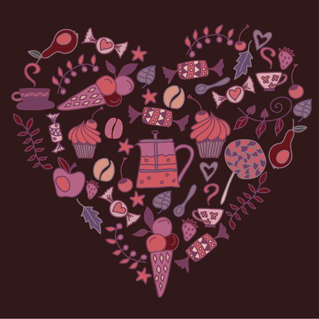 english culture: Heart made of Tee coffee pattern in dark colors