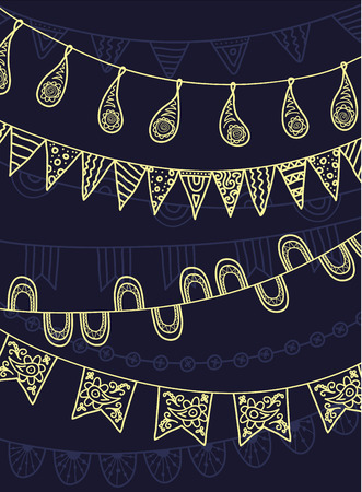 school carnival: Hand Drawn Vector Garlands and Bunting Flags Illustration