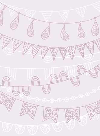 pink banner: Hand Drawn Vector Garlands and Bunting Flags Illustration