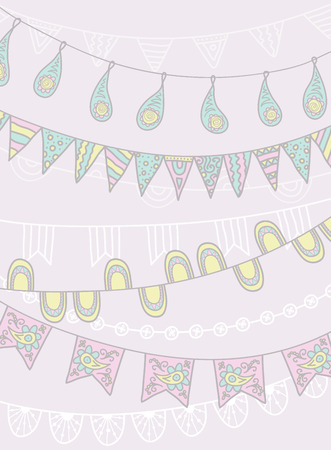 Hand Drawn Vector Garlands and Bunting Flags Ilustração