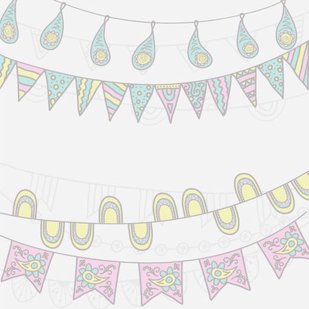 bunting flags: Hand Drawn Vector Garlands and Bunting Flags Illustration
