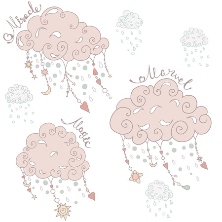 wheather: Pink clouds with pendants and ornaments