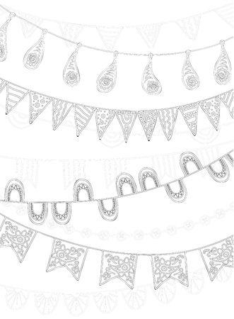 school carnival: Hand Drawn Vector Garlands, lanterns and Bunting Flags