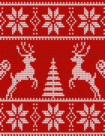 Christmas and Happy New Year ornament - red Sweater with deers