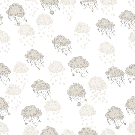 pendants: Clouds with pendants and ornaments, vector seamless pattern