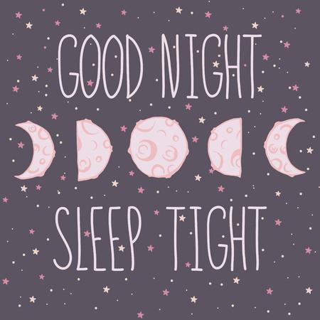 buonanotte: Scheda con cinque fasi lunari fasi lunari del formaggio con le stelle e lo spazio sfondo