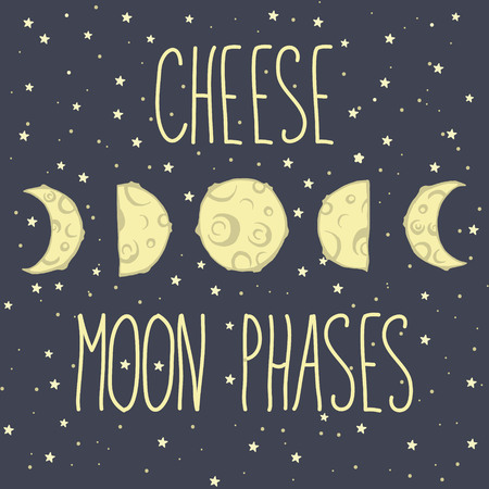 moon phases: Card with five moon phases Cheese moon phases with stars and space background Illustration