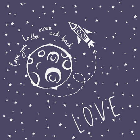 star sky: Card Love you to the moon and back with moon, rocket, space arrow and lettering with declaration of love words Illustration
