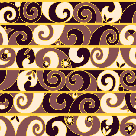 leaf curl: Vector vintage seamless pattern with curve ornament, waves. Repeating abstract background with curl, flowers, leaf, waves in stripes. Purple, lilac colors.