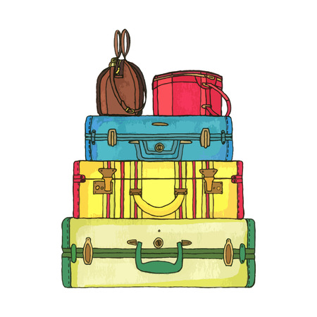 broun: Yellow, green and blue suitcases, broun and red bags in artistic nand drawn style. Vector. Illustration