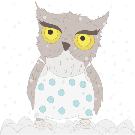 merry mood: Owl vector object in pajamas with blue polka dots  sweater with snowflakes and jeans  pajamas with Merry Christmas lettering. Snow, snowflakes in background. Winter Christmas mood card for any project. Illustration