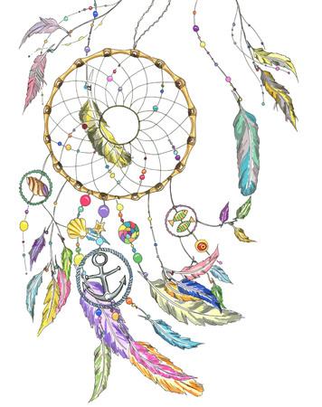 atrapasueños: Colector ideal ingenio coloridas plumas, perlas, productos de mar: cáscara, pescados, estrella, ancla, de conchas marinas. El fichero del vector para cualquier proyecto.