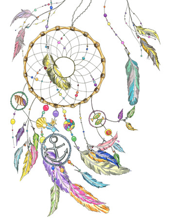 Dream catcher wit colorful feathers, beads, items from the sea: shell, fishes, star, anchor, seashell. Vector file for any your project. Çizim