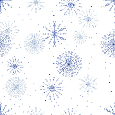 snow fall: Seamless vector pattern with lacy blue snowflakes,  snow fall