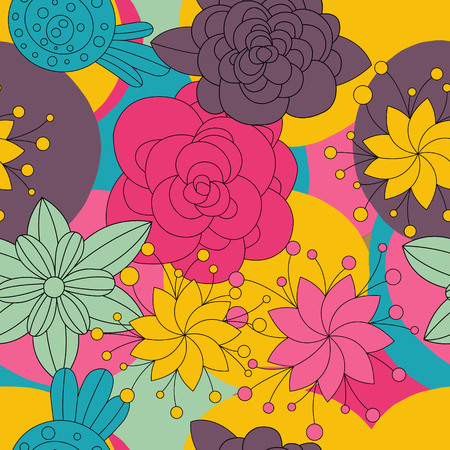 ethno: Abstract Elegance Ethno Colors Seamless pattern with floral background