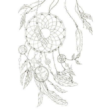 Dream catcher with feathers, beads, items from the sea: shell, fishes, star, anchor, seashell. Without any colour, black and white.