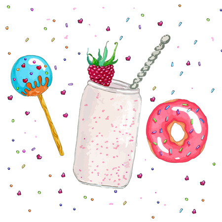 glaze: Set of sweet food: cake pops in blue glaze with culinary sprinkling, a jar of yogurt with a raspberries and a spoon, a donut with pink glaze and culinary sprinkling