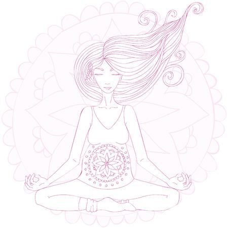 Mujer embarazada practicar asana de loto en la meditación. Mandala de fondo de color rosa.