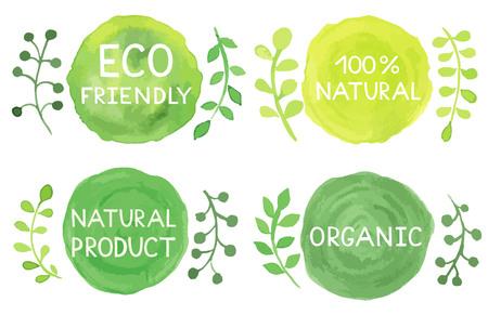 Set van aquarel groene logo.Leaves, badges, belettering, takken krans, planten elementen, lauweren. Hand getrokken painting.Sign label, geweven embleem set.Eco vriendelijke, natuurlijke, product, organisch ontwerp sjabloon.