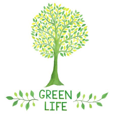 sello: logotipo verde de la acuarela, �rbol, hojas, letras, ramas guirnalda, las plantas de elementos, laureles. logotipo de la vida verde.
