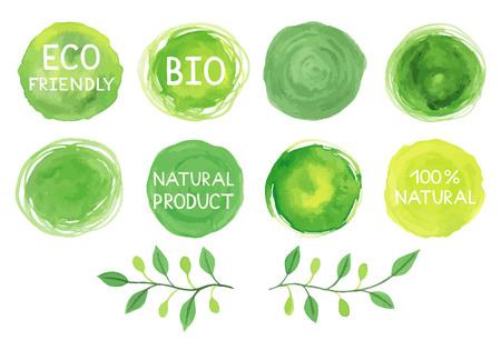 Set of watercolor green logos.Leaves,frames,lettering,badges,lettering, branches wreath,plants elements,laurels. Hand drawn painting.Sign label ,textured emblem set. Illustration