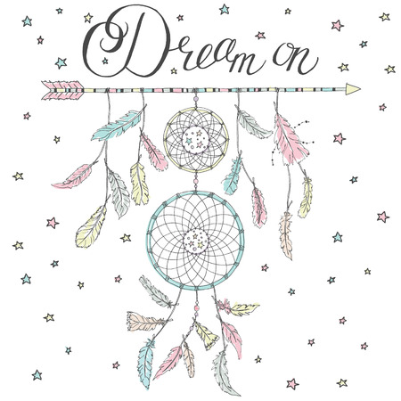 Double Dream catcher on an arrow with many feathers and calligraphy text Dream on and stars