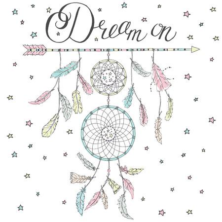 Double Dream catcher op een pijl met veel veren en kalligrafie tekst Dream on en de sterren