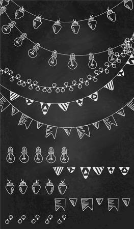 Hand getrokken grenzen, slinger borstels op krijt board.Doodle patroon texturen, lampen, lantaarns, vlaggen, ornament.Decoration vector penseelstreek set.Used borstels inbegrepen. Stock Illustratie