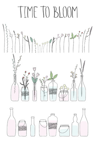 Set of bottles and jars with water and flowers. Doodle hand drawn bottls and jars, plants, flowers, branches, leaves, spruce. Time to bloom lettering. Letters, phrase, words. Ilustração
