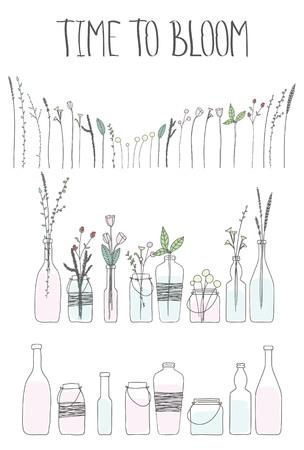 Set van flessen en potten met water en bloemen. Doodle handgetekende Bottls en potten, planten, bloemen, takken, bladeren, sparren. Tijd om belettering bloeien. Letters, woorden, woorden.