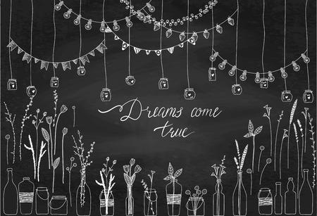 Set hand getrokken grenzen, slingers, potten, flessen met bloemen. Doodle lampen, lantaarns, vlaggen, ornament, in flesjes op de schommel. Planten, bloemen, bladeren. Decoratie penseelstreek instellen.
