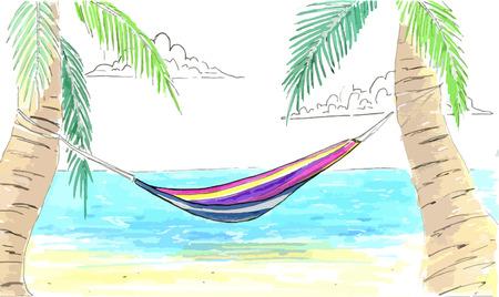 hamaca: Hamaca entre palmeras. Océano, costa de arena y una hamaca en las palmas. Palma, hamaca, mar, costa de la arena. Vectores