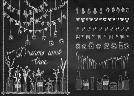 Set hand getrokken grenzen, slingers, potten, flessen met bloemen. Bordachtergrond. Doodle lampen, lantaarns, vlaggen, ornament, in flesjes op de schommel. Planten, bloemen, bladeren. Decoratie penseelstreek set.Used borstels inbegrepen. Stock Illustratie