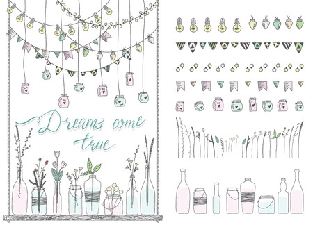 Set of hand drawn borders,garlands, jars, bottles with flowers. Doodle lamps, lanterns,flags, ornament, jars, bottles on swing. Plants, flowers, leaves. Decoration  brushstroke set.Used brushes included.