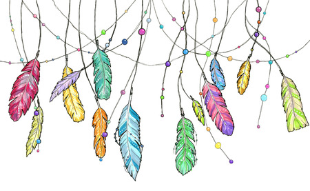 Hand drawn sketch feathers of dream catcher. Set of bright colorful feathers for any print or tattoo. Sketch illustration feathers swinging in the wind.