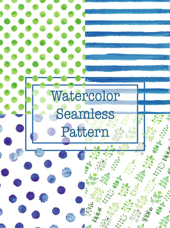 green flowers: Set of watercolor seamless patterns green and blue color. Polka dot, flowers  herbs, splashes, square seamless watercolor pattern for scrapbook or textile print. Illustration