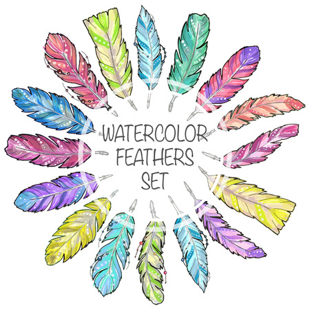 Set of hand drawn sketch watercolor feathers. Set of bright colorful feathers for any print or tattoo. Boho feathers, hipster, aztec style.