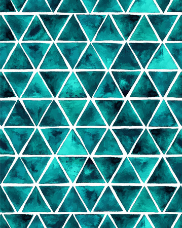 emerald: Watercolor seamless pattern with emerald triangles. Green circles abstract background.