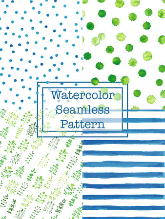 chevron patterns: Set of watercolor seamless patterns green and blue color. Polka dot, flowers  herbs, splashes, stripes, specks, peases seamless watercolor pattern for scrapbook or textile print. Illustration